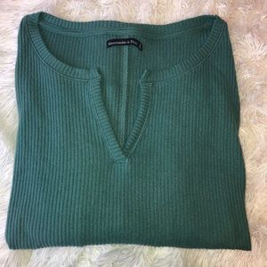 Cropped Long Sleeve Ribbed Tee